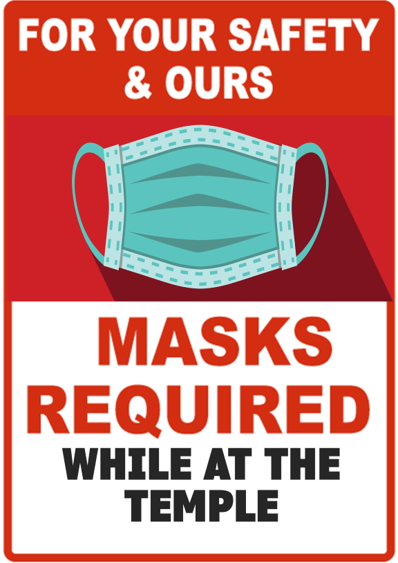 Wear a mask at Temple